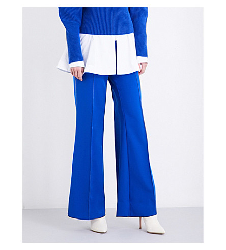 PAPER LONDON Encore wide-leg twill trousers (Blue