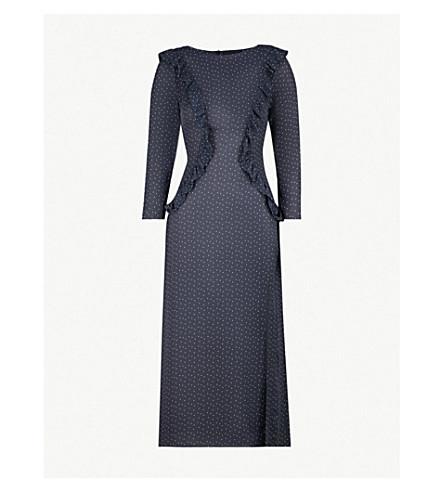 PAPER LONDON Jasmine frill-trim polka-dot crepe dress (Night+sky