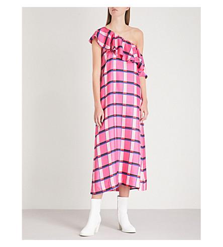 PAPER LONDON Chic Chic one-shoulder silk-twill midi dress (Miami check