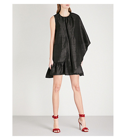 PAPER LONDON Dusk silk-dupion mini dress (Black