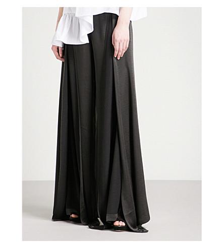 PAPER LONDON Lex regular-fit wide-leg satin trousers (Black