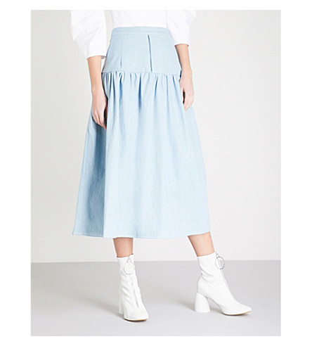 PAPER LONDON Rome denim midi skirt (Light+wash