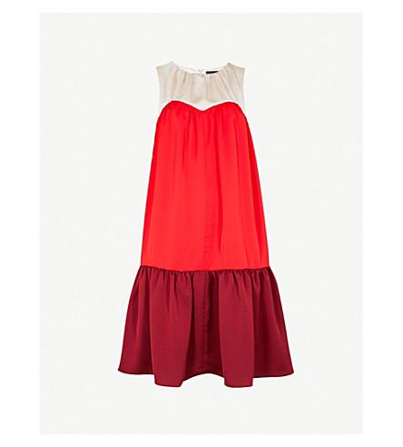 PAPER LONDON Rubin satin and crepe dress (Multi