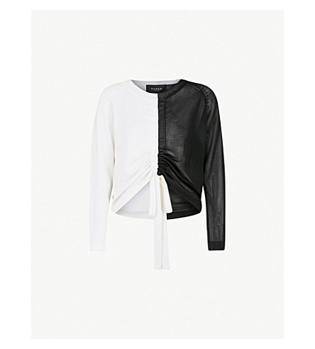 PAPER LONDON Raft two-tone wool jumper (Black+and+ivory