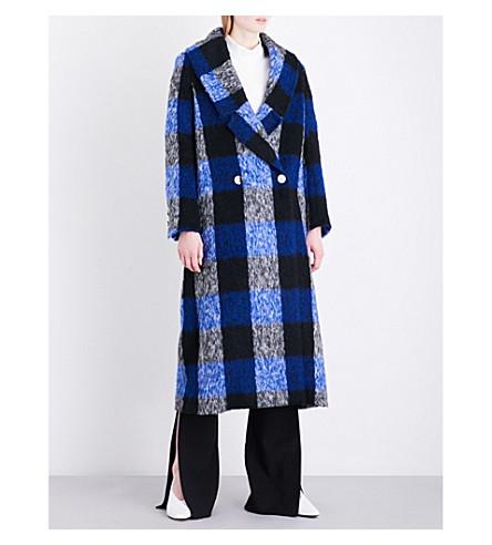 PAPER LONDON Rainbow check wool-blend coat (Blue