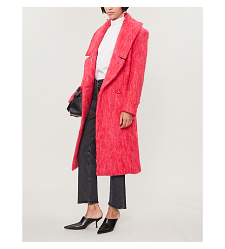 PAPER LONDON Rainbow check wool-blend coat (Punch+pink