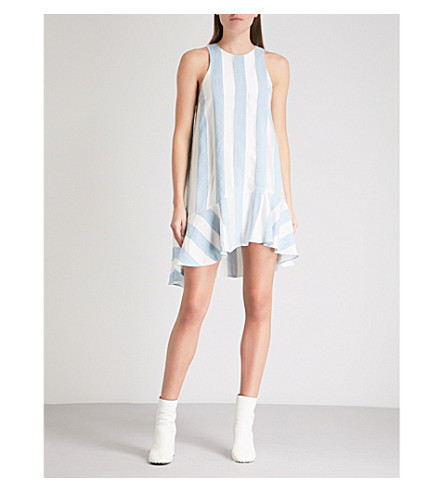 PAPER LONDON Treacle striped woven mini dress (Blue+and+ivory