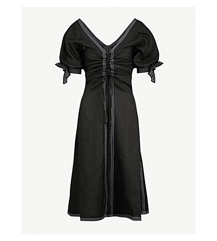 PAPER LONDON Sisi balloon-sleeve linen dress (Black
