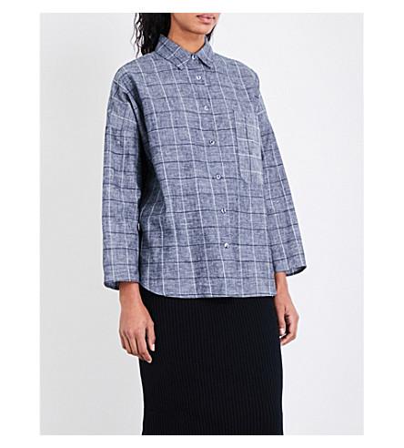 STUDY NY 1.1 check hemp and organic cotton-blend shirt (Check+chambray