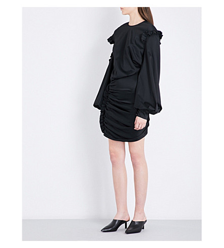 MAGDA BUTRYM Acapulco asymmetric cold-shoulder silk dress (Black