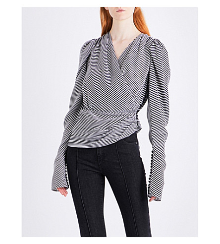 MAGDA BUTRYM Ronda asymmetric draped striped silk blouse (White