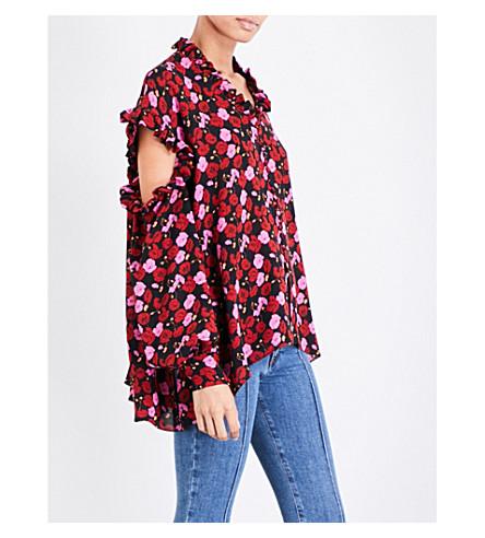 MAGDA BUTRYM Forli floral-print silk-crepe shirt (Pink