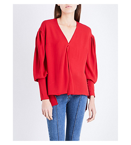 MAGDA BUTRYM Camas bishop-sleeve silk top (Red