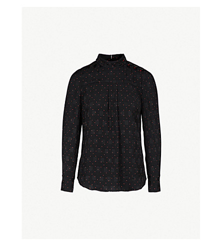 CEFINN Patterned woven top (Blk/red