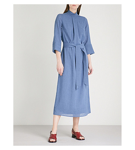 CEFINN Funnel neck gauze midi dress (Denim blue