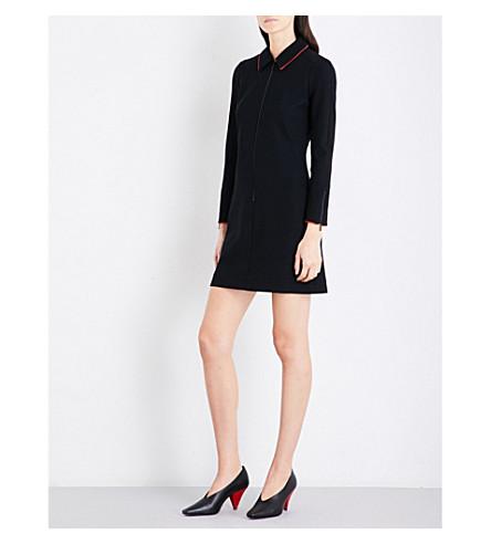 CEFINN Contrast-trim fitted woven mini dress (Black+scarlet