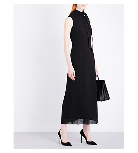 CEFINN Funnel neck voile maxi dress (Black