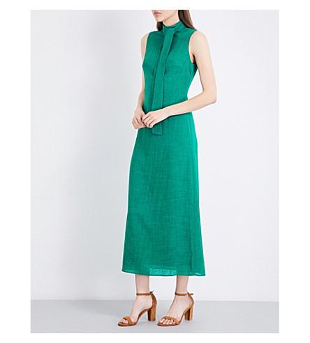 CEFINN Funnel neck voile maxi dress (Emerald