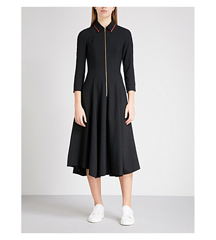 CEFINN Zip-detail fit-and-flare woven dress (Black+scarlet