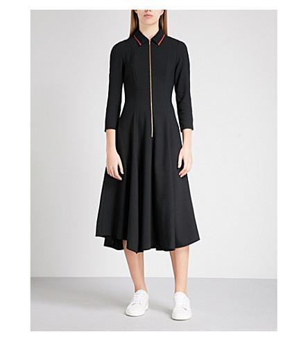 CEFINN 拉链-细节合身和闪光编织的礼服 (黑 + 猩红色