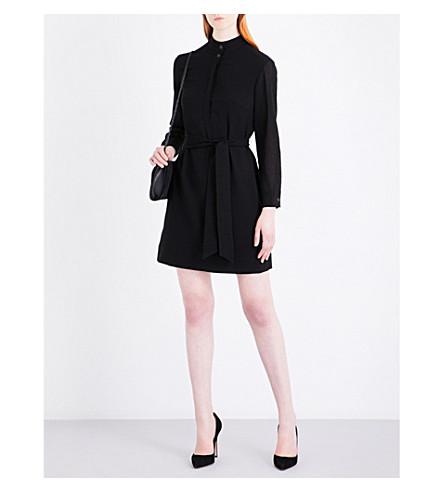 CEFINN High-neck voile mini dress (Black