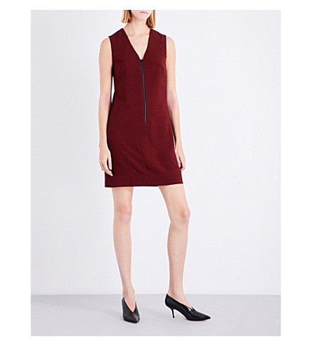 CEFINN V-neck woven mini dress (Dark+red