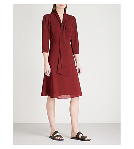 CEFINN Self-tie detail woven dress (Dark+red