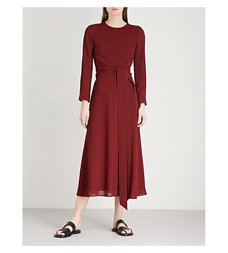 CEFINN Self-tie woven dress (Dark+red