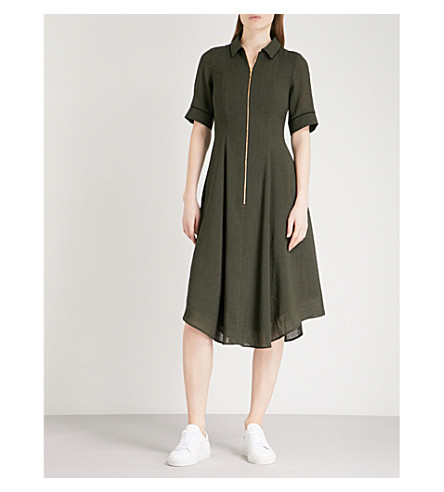 CEFINN Zip-detail fit-and-flare woven dress (Dark+khaki/black