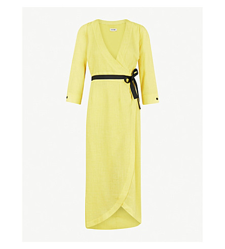 CEFINN Belted V-neck woven wrap dress (Yellow
