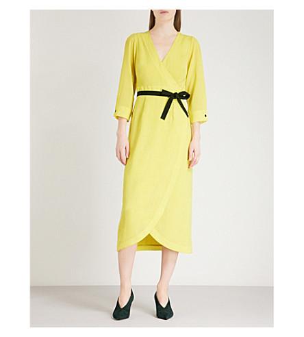 CEFINN Belted V-neck woven wrap dress (Yellow