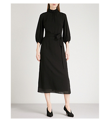 CEFINN Belted woven midi dress (Black