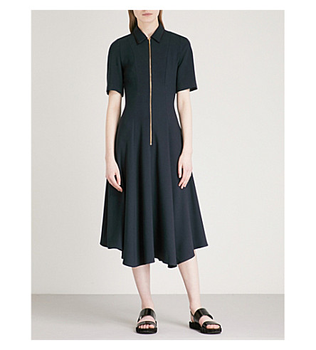 CEFINN Zip-detail fit-and-flare woven dress (Navy/black