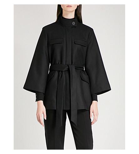 CEFINN Funnel neck wool-blend coat (Black