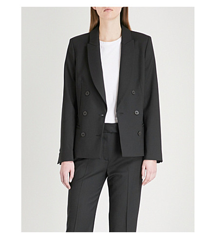 CEFINN Double-breasted woven jacket (Black
