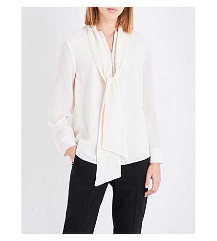 CEFINN Tie-neck textured voile top (Cream