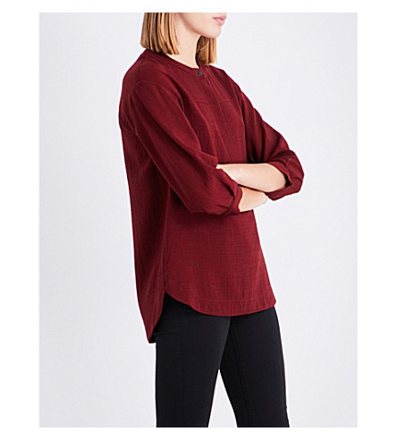 CEFINN Loose-fit textured voile top (Dark+red