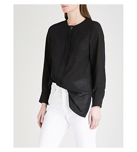 CEFINN Pleated-detail woven top (Black