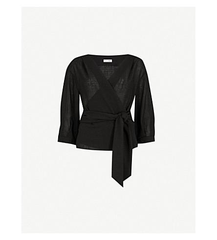CEFINN Wrap-front woven top (Black