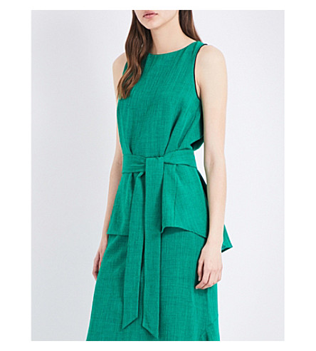 CEFINN Voile sleeveless top with sash (Emerald