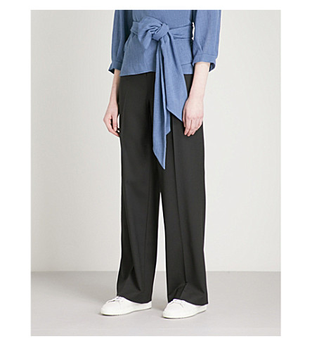CEFINN Wide-leg high-rise woven trousers (Black