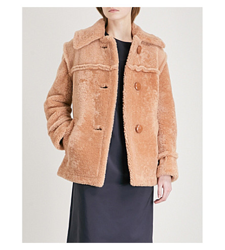 COACH Single-breasted shearling coat (True+camel