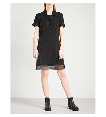 COACH Metallic-embroidered woven dress (Black