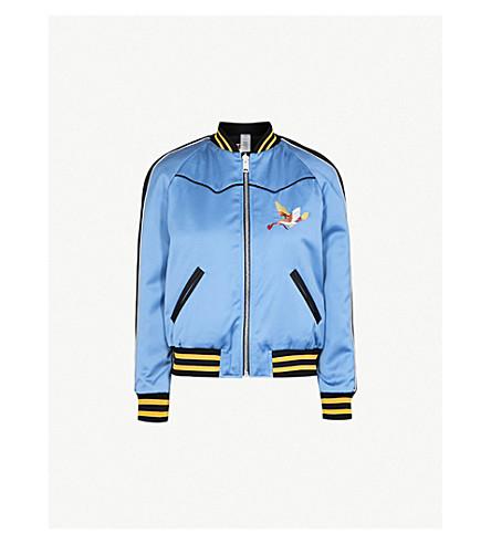 COACH Reversible embroidered satin bomber jacket (Blue/+black+multi