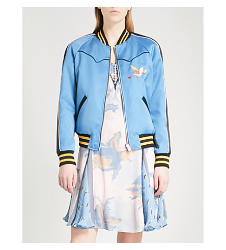COACH Reversible embroidered satin bomber jacket (Blue/+black+multi