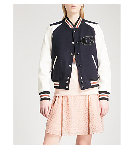 COACH Patch-embroidered wool-blend bomber jacket (Navy