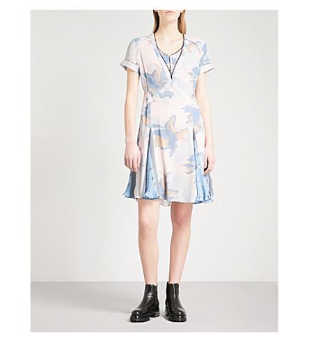 COACH Dreamy Floral pleated silk mini dress (Blue