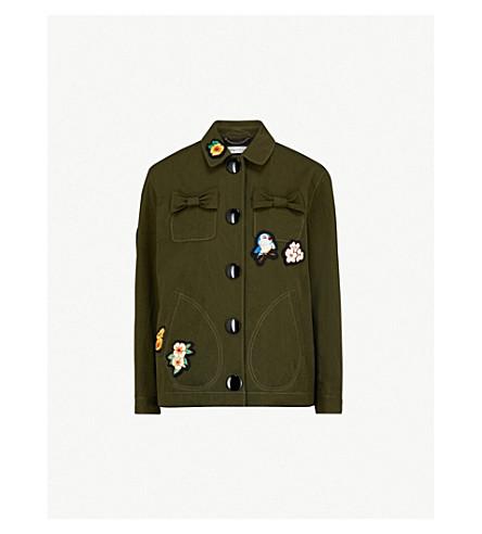 COACH黑迪斯尼 appliquéd 棉夹克 (卡其色 + 绿色