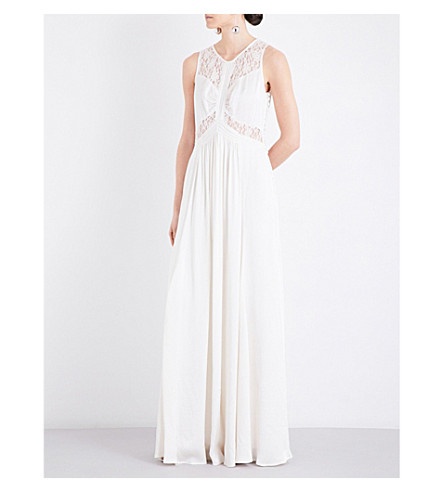 GHOST Elvita embroidered satin dress (Ivory