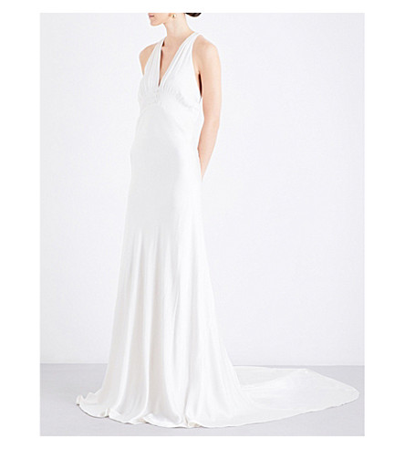 GHOST Lilly satin dress (Chalk+white